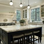 Kitchen in modern home with granite countertops