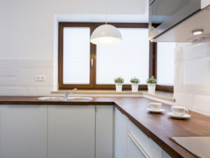 a kitchen with wood countertops
